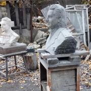 Создание бюстов из гранита. Рубка бюста для памятника в камне.