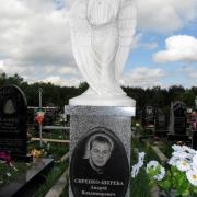 Мраморный ангел на Южном кладбище в Киеве; на фото ангел к памятнику, на гранитной колонне. Изготовление ангелов из мрамора в ЧП Прядко сегодня.