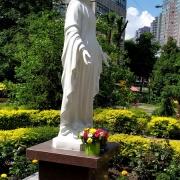 Фото установленной статуи в Киеве. Скульптура Божьей Матери. Фото статуи в Национальном институте рака.
