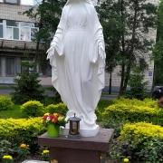 Фото установленной статуи.  Скульптура Божьей Матери на колонне. Национальный институт рака в Киеве.