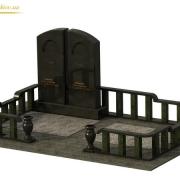 На фото дизайн памятника  в 3д. Модель ритуального комплекса в 3д; фронтальный вид 3д проекта памятника. Доступная цена 3д проекта памятника 1,5 тыс. грн.