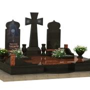 Индивидуальный 3d проект ритуального комплекса при захоронении на троих. Создание проекта памятника перед изготовлением в цеху. Стоимость 3D проекта сегодня, от 1,3 тыс. грн.