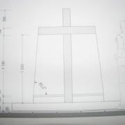 Чертёж (фронтальный вид) будущего памятника с крестом. Создание 3д проекта памятника  в Киеве в кратчайшие сроки, от 3х дней. Цена 3d проекта в ЧП Прядко сегодня, от 500 грн.
