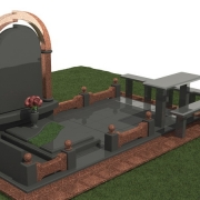 Ритуальный комплекс на троих из комбинированного гранита Лезники и чёрного габбро. Готовый 3D проект памятника для кладбища, стоимость готового 3Д проекта сегодня: 1,3 тыс. грн.