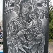 Икона на памятнике. Размер иконы на памятнике: 60 х 110 см. Купить икону для памятника - можно с нашего сайта сейчас: https://www.prjadko.kiev.ua/khudozhestvennye-raboty.html