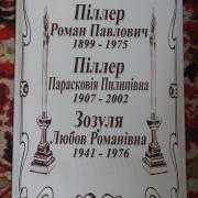 Семейная ритуальная табличка; размер 25 х 40 см. на металлокерамике. Цена таблички на могилу 440 грн.